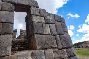 Inca stone walls at the Sacsayhuaman archaeological site Peru