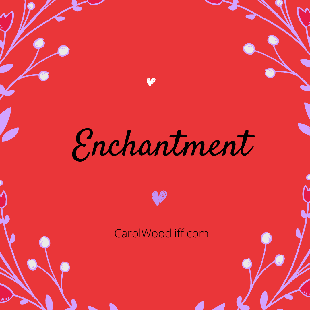 Enchantment text on red background with hearts